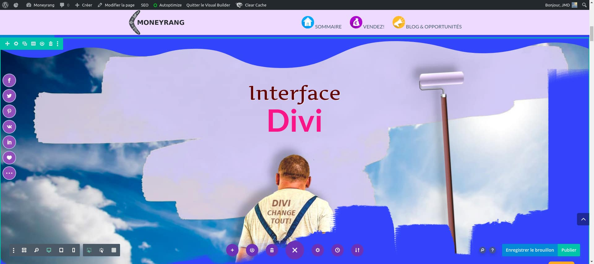 Interface WordPress AVEC DIVI