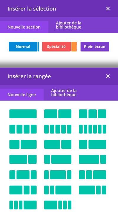 Insertion de Blocks, Sections, Colonnes, Lignes