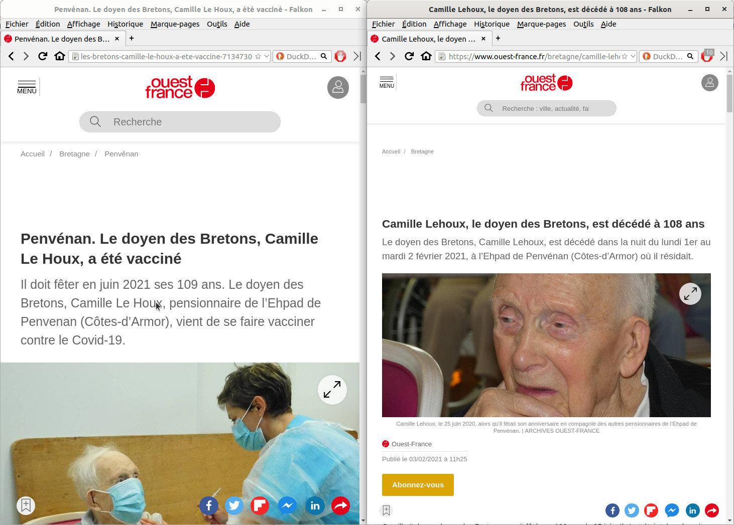 Le doyen de Bretagne meurt quelques jours après avoir été vacciné.