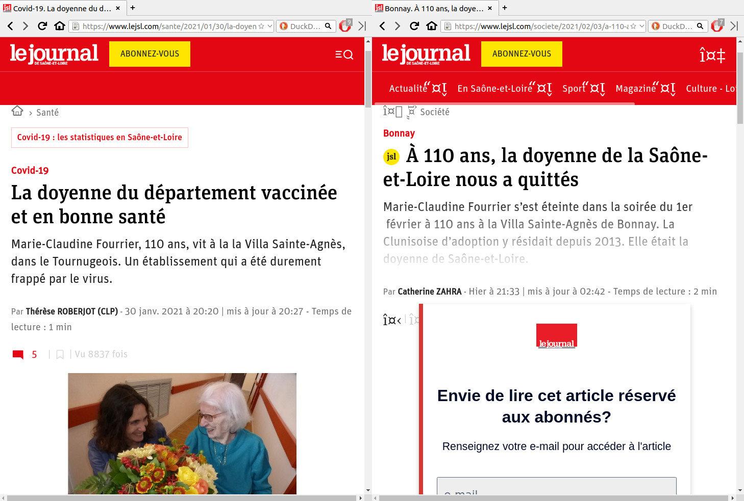 """La doyenne de Saône & loire quelque jours après avoir été vaccinée. Changement de rubrique: de """"Santé"""" à """"Société"""""""