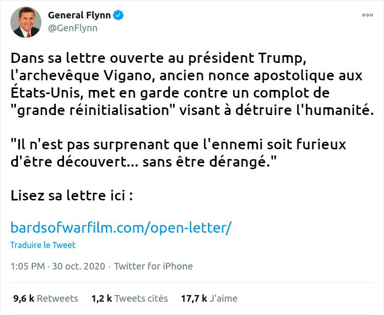 Tweet du Général Flynn