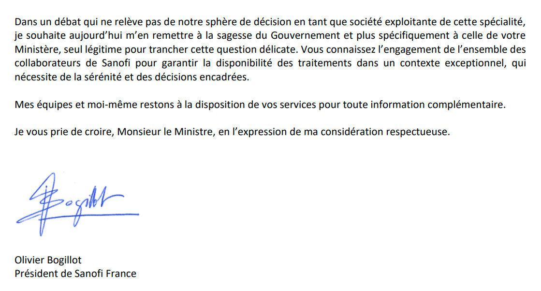 Lettre du président de Sanofi à Olivier Veran. Cliquez sur l'image si vous souhaitez voir l'originale.