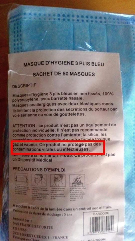 Attention: ce produit ne protège pas des contaminations virales ou infectieuses.
